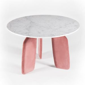 Bavaresk-Dining-Table-carara-Marble-top-Peach-velvet