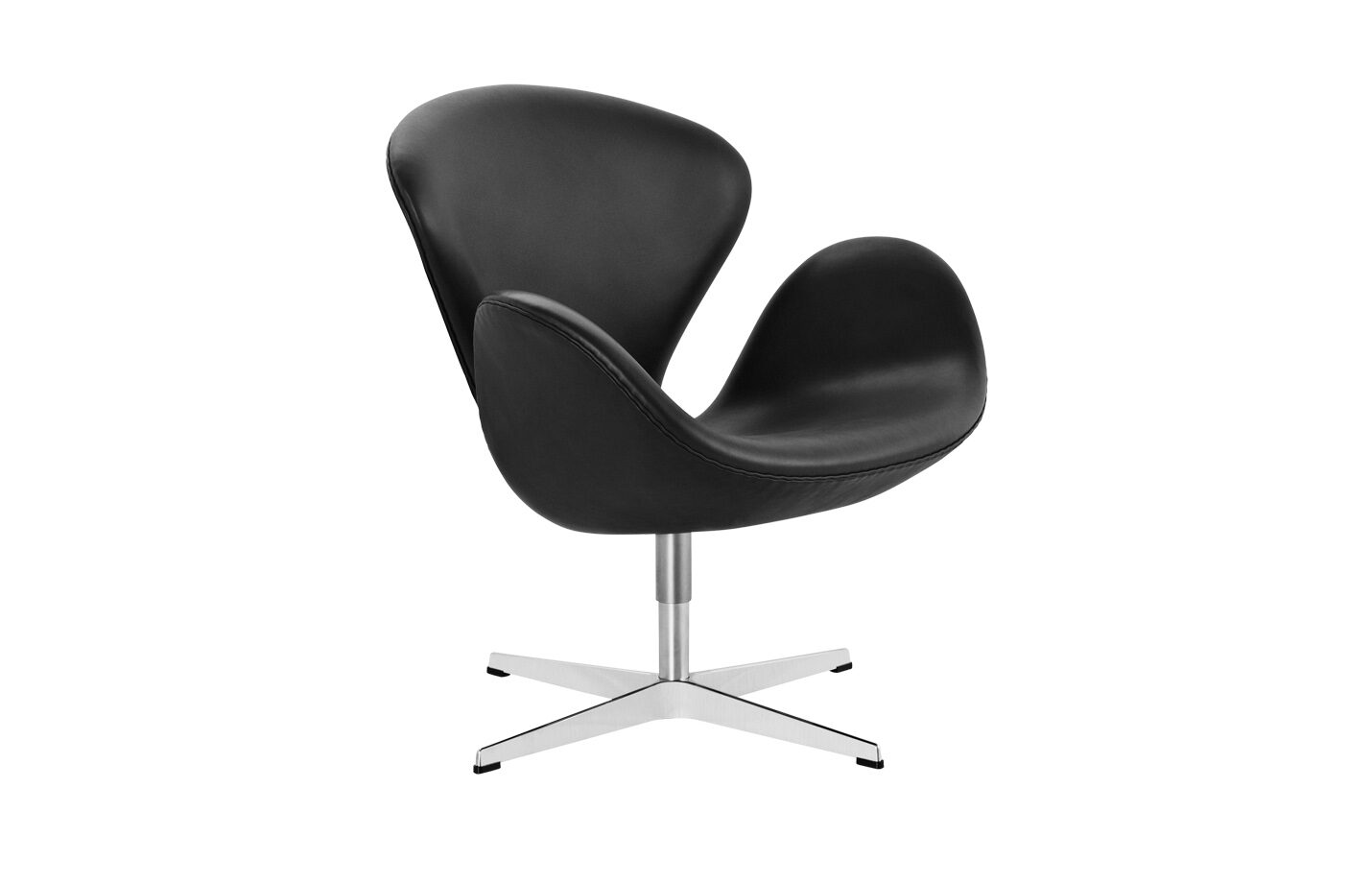 Swan-lounge-chair-Leather-Grace-Black