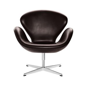 Swan-lounge-chair-Leather-Grace-Dark-brown